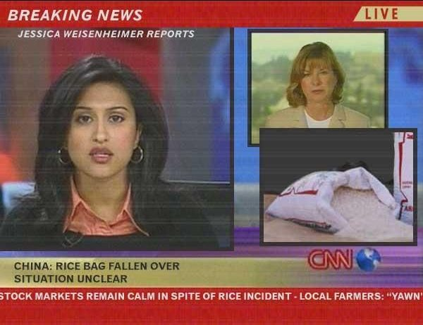 China: rice bag fallen over — situation unclear